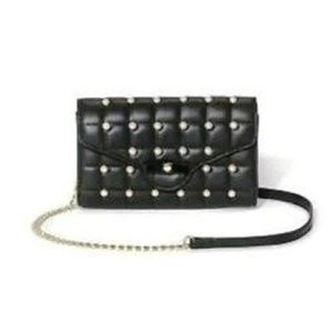 Quilted Bow Faux Leather Pearl Crossbody Bag NWT